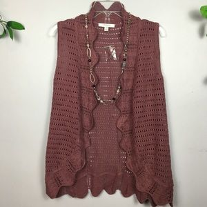 NWOT LIZ CLAIBORNE Crocheted Vest Small